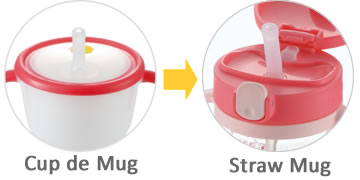 The same straw structure as Cup de Mug makes it easy to step up to Straw Mug!