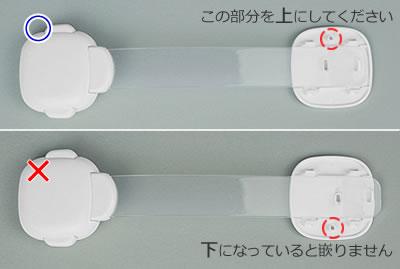 固定部底部の向きが逆では、ベルトの取付け穴と固定部底部の凸部と合わせることができません